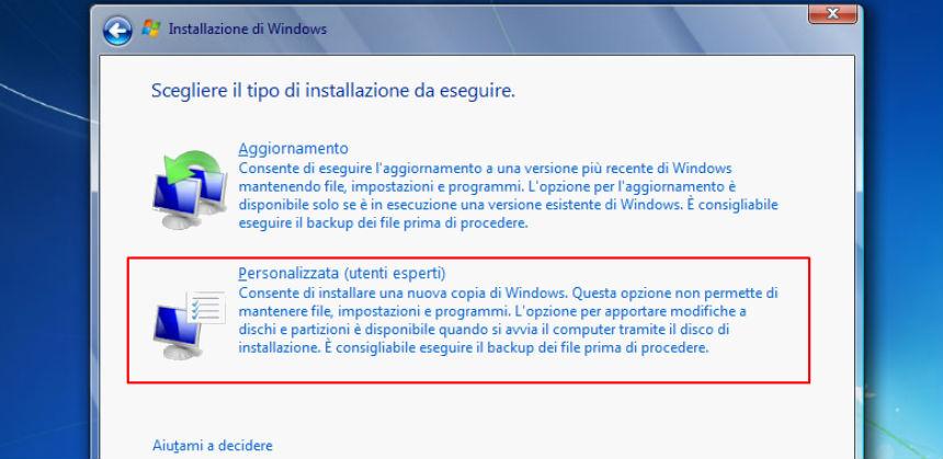 Installazione personalizzata Windows