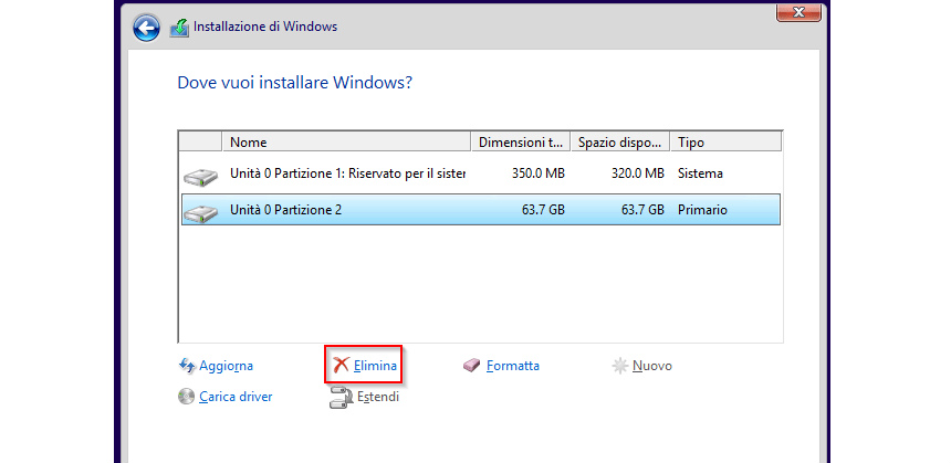 Percorso installazione di Windows