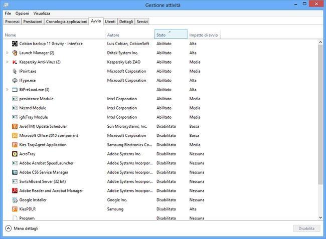 Velocizzare e ottimizzare windows 8 avvio