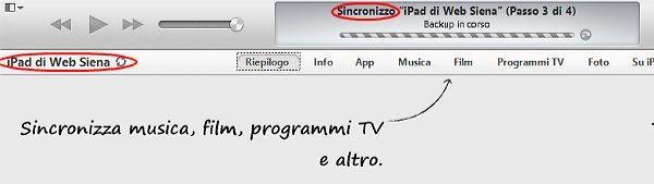 sincronizzazione itunes iphone