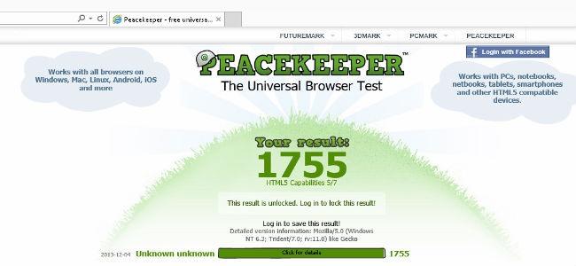 Test velocità Internet Explorer 11