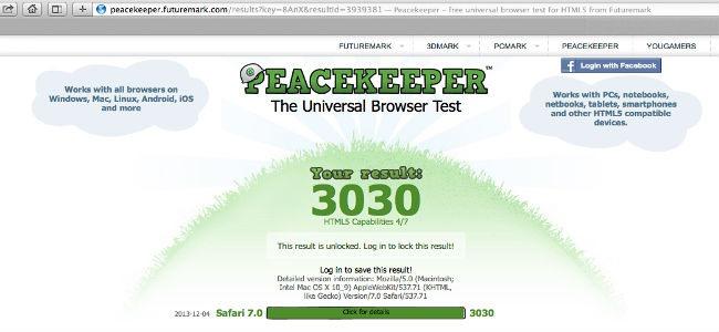 Test velocità Safari